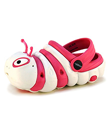 Frisky Shoes Clogs With Back Strap Caterpillar Design - Fuchsia And White