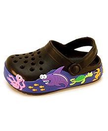 Frisky Shoes Toddler Clogs With Back Strap - Black
