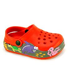 Frisky Shoes Clogs With Back Strap Sea Animal Print - Orange