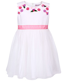 Angelito Sleeveless Frock With Floral Applique - White