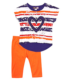 Baby Ziggles Short Sleeves Top And Leggings Heart Patch - Orange