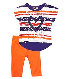 Baby Ziggles Short Sleeves Top And Leggings Heart Patch - Orange