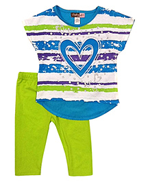Baby Ziggles Short Sleeves Top And Leggings Heart Patch - Green