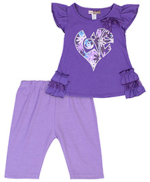 Baby Ziggles Ruffled Sleeves Top And Leggings Bow Applique - Purple