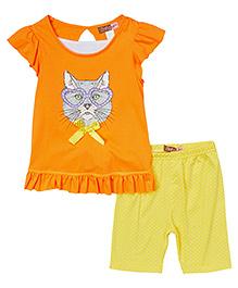 Baby Ziggles Flutter Sleeves Top And Leggings Cat Print - Orange