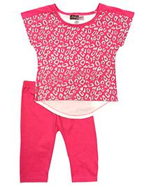 Baby Ziggles Short Sleeves Top And Leggings  - Pink