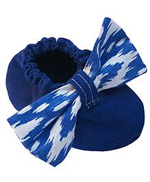 Bootie Patootie Bow Flat Booties - Blue