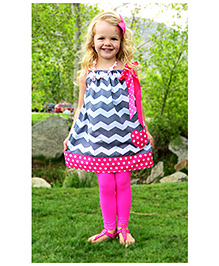 Cocalily Boutique Singlet Party Pillowcase Dress Zig Zag Pattern - Grey And Pink