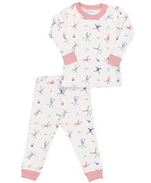 Under The Nile Baby Long Johns Scrappy Cat Print - White And Pink