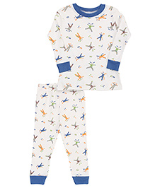 Under The Nile Baby Long Johns Scrappy Cat Print - White And Blue