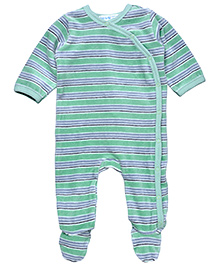 Under The Nile Side Snap Footie Stripe Pattern -  Grey And Green