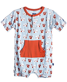 Kickee Pants Kangaroo Romper Shovel And Pail Print - Blue