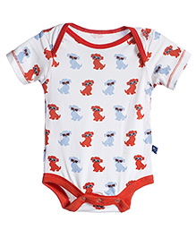 Kickee Pants Short Sleeve One Piece Puppy Print - White And Orange