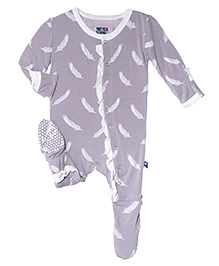 Kickee Pants Ruffle Footie Falling Feather Print - Grey