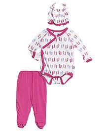 Kickee Pants Ruffle Kimono Newborn Gift Set Flip Flop Print - Pink