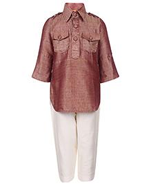 Exclusive From Jaipur Full Sleeves Kurta Pajama Set - Brown And White