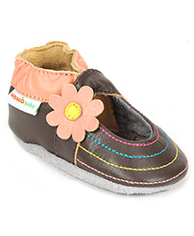 Momo Baby Soft Sole Leather Shoes Rainbow Toes - Brown