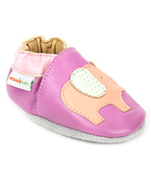 Momo Baby Soft Sole Leather Shoes Elephant Motif - Purple