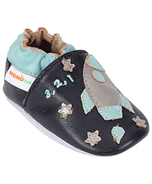 Momo Baby Soft Sole Leather Shoes Rocket Patch - Navy Blue
