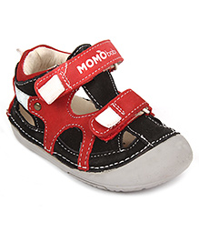 Momo Baby Thomas Leather Sandals - Black And Red