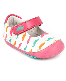 Momo Baby Mary Jane Leather Shoes Mustache Mania  - White And Pink