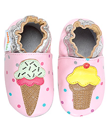 Sprinkle Cream Leather Crib Shoes - Pink