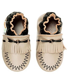 Momo Baby Soft Sole Leather Crib Shoes - Taupe