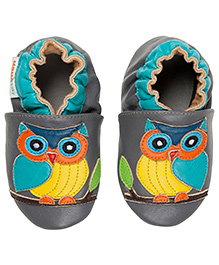 Wise Owl Leather Crib Shoes - Gray