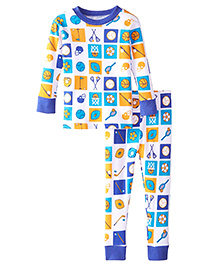 New Jammies Snuggly PJ Sports Color Block Organic Cotton Night Suit - Blue