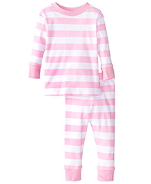 New Jammies Snuggly PJ Classic Stripes Organic Cotton Night Suit - Pink