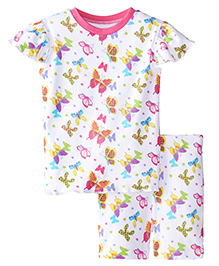 New Jammies Organic Cotton PJ Short Set Butterfly Magic - White And Pink