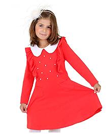 Dolce Liya Full Sleeves Collar Dress Pearl Detailing - Red