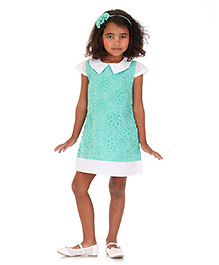 Dolce Liya Short Sleeves Dress Floral Detailing - Sea Green