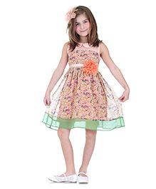 Dolce Liya Sleeveless Dress Floral Applique - Pink
