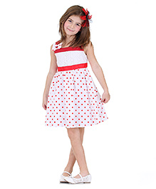 Dolce Liya Sleeves Party Dress Bow Appliques - Red And White