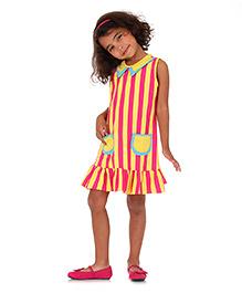 Mikko Kids Di Vani Dress Stripes - Yellow And Pink
