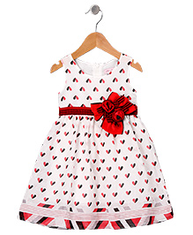 Mikko Kids Rose Kelly Dress With Red Bow - White