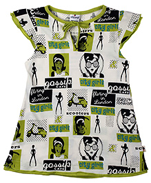 Ollypop Short Sleeves Frock Caption Print - White Green