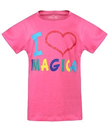 Imagica Half Sleeves T-Shirt Text Print - Pink