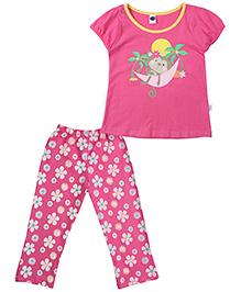 Teddy Short Sleeves Night Suit Monkey Print - Dark Pink