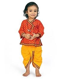 Little India Angarkha Style Kurta Dhoti Set Bagru Design - Red Yellow