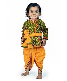 Little India Angarkha Style Kurta Dhoti Set Bagru Design - Green Yellow