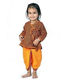 Little India Angarkha Style Kurta Dhoti Set Sanganeri Design - Orange Yellow