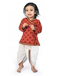 Little India Angarkha Style Kurta Dhoti Set Bandhej Design - Red White