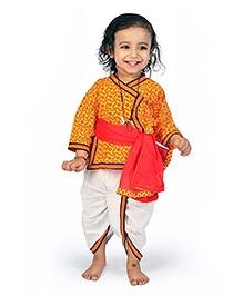 Little India Dhoti Angarkha Set With Dupatta Ethnic Design - Red Yellow