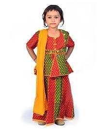 Little India Lehenga Choli With Dupatta Booti Work - Red Green