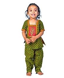 Little India Salwar Kameez Bagru Design - Green