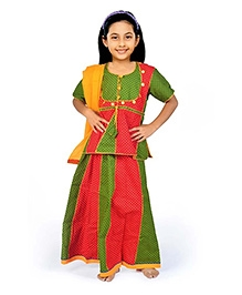 Little India Lehenga Choli With Dupatta Ethnic Design - Red Green