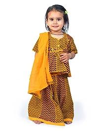 Little India Lehenga Choli With Dupatta Zigzag Design - Yellow