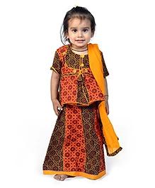 Little India Lehenga Choli With Dupatta Rajasthani Bandhej Design - Brown Orange